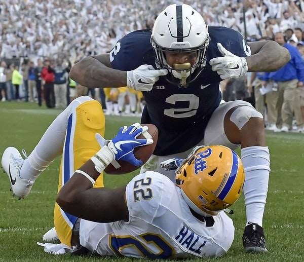 Marcus Allen was on top of Pitt's Darrin Hall last Saturday, and Allen's Nittany Lions are on top of Randy Johnson's Power Poll today. (Photo by
