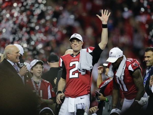 FILE - In this Sunday, Jan. 22, 2017, file photo, Atlanta Falcons' Matt Ryan celebrates after the NFL football NFC championship game against the Green
