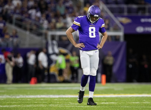 Minnesota Vikings quarterback Sam Bradford is out for Sunday's game against the Buccaneers with a knee injury. It's his second consecutive missed game