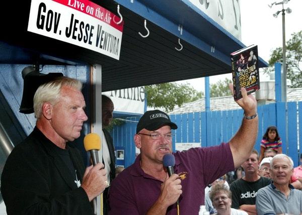 """Bobby """"The Brain"""" Heenan brought his book to the Minnesota Fair for former Gov.Jesse Ventura during the governor's weekly radio show in 2002. Heenan d"""