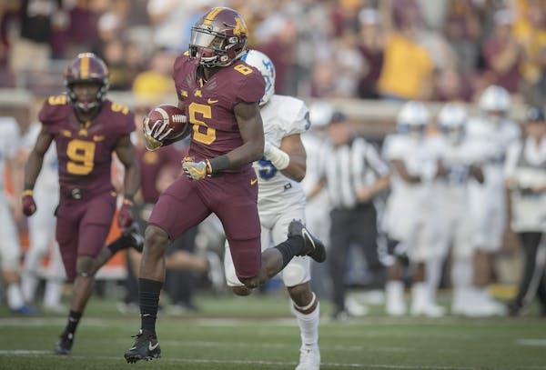 Gophers sophomore Tyler Johnson caught a 61-yard touchdown reception in the season opener last week. (Star Tribune photo by Elizabeth Flores)