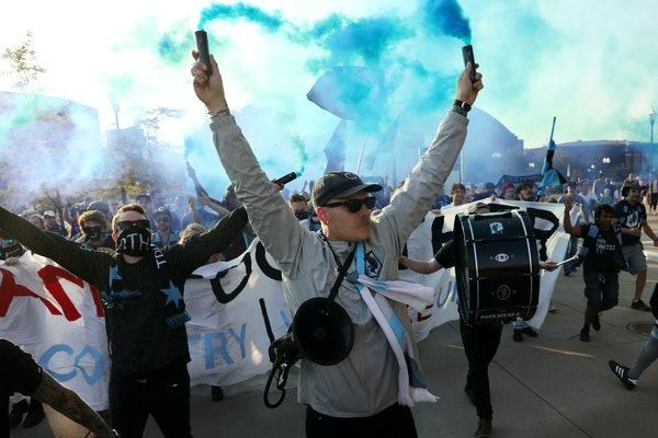 Minnesota United fans:Maybe not huge in numbers, but they make themselves known. (Star Tribune photo by ANTHONY SOUFFLE, anthony.souffle@startribun