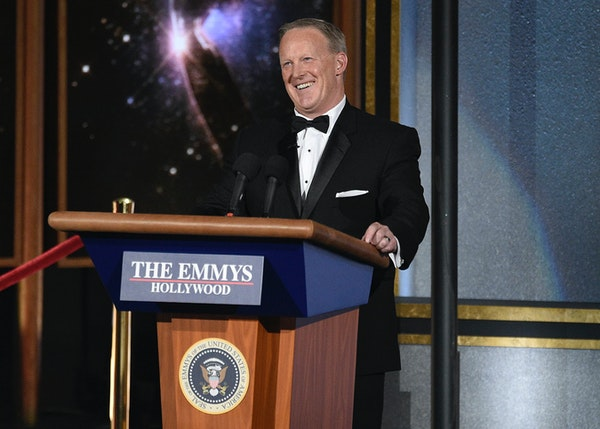 Sean Spicer made a surprise appearance at the 69th Primetime Emmy Awards on Sunday, Sept. 17, 2017, at the Microsoft Theater in Los Angeles.
