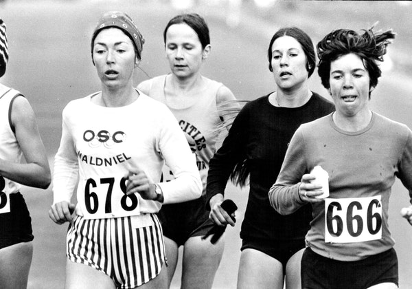 Runners competed in the first-ever marathon championship for women in the United States, Oct. 23, 1977, on the streets of St. Paul.