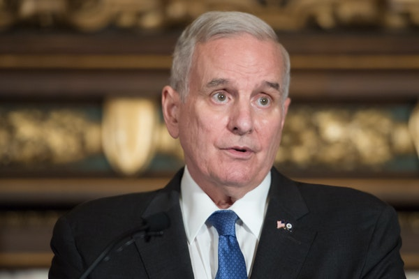 Gov. Mark Dayton, pictured at a news conference Sept. 22, said he disagrees with kneeling protests, but defends players' right to kneel. GLEN STUBBE