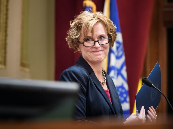 Minneapolis Mayor Betsy Hodges acknowledged applause after she delivered her budget address in council chambers Tuesday.