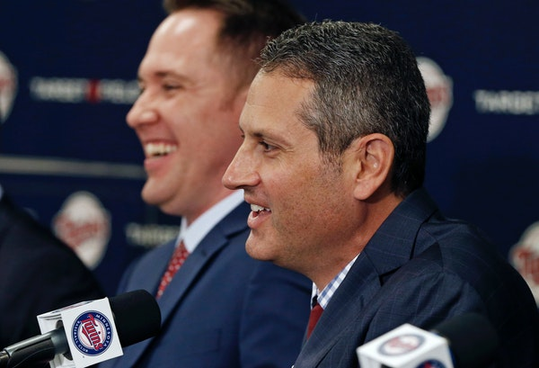 Twins Chief Baseball Officer Derek Falvey, left, and General Manager Thad Levine.