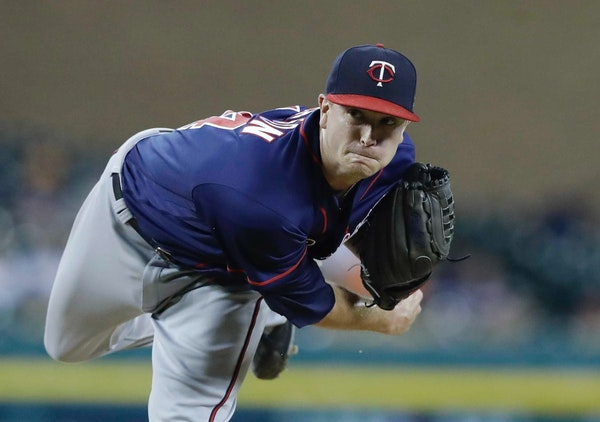 Minnesota Twins starting pitcher Kyle Gibson throws during the sixth inning of a baseball game against the Detroit Tigers, Friday, Sept. 22, 2017, in