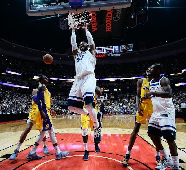 Wolves open preseason, beat Lakers 108-99