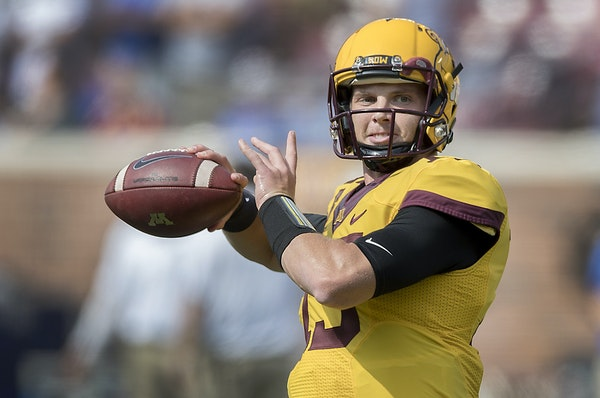 """Minnesota quarterback Conor Rhoda has the confidence of his tight end, Nate Wozniak. """"He's always been a confident guy, but you can tell though th"""