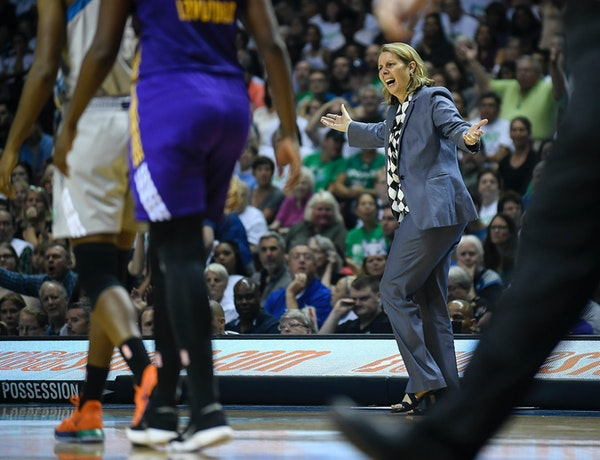 Minnesota head coach Cherl Reeve argued an offensive foul in the second half.
