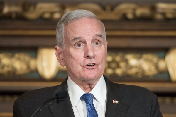 Gov. Mark Dayton, shown Friday, took aim at the politics practiced by President Donald Trump as well as federal and local Republican lawmakers.