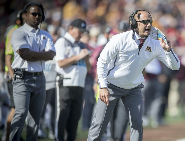 """Gophers coach P.J. Fleck, shown on the sideline Saturday, called this """"Year Zero"""" as he gets his system in place — indicating that wins and loss"""