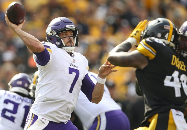 Case Keenum struggled last week against Pittsburgh, completing just 20 of 37 passes for 167 yards.