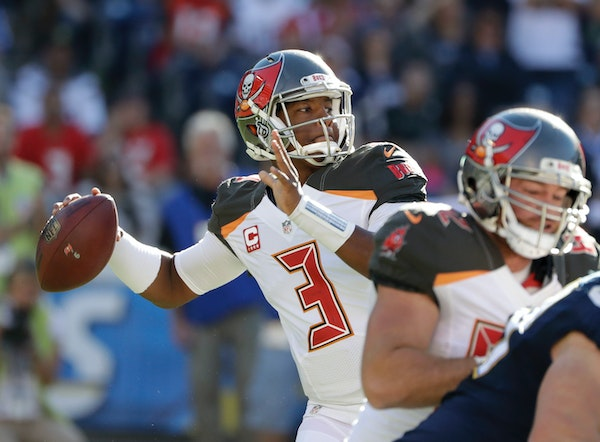 FILE - In this Sunday, Dec. 4, 2016 file photo, Tampa Bay Buccaneers quarterback Jameis Winston passes against the San Diego Chargers during the first