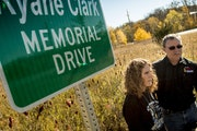 Tracy and Rick Clark have worked to install a memorial to their son, Ryane, near their home in New London, Minn. Ryane was killed while in the Army.