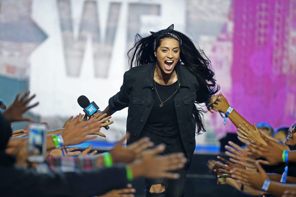 Lilly Singh, the comedian, actress and YouTube sensation at the Xcel Center in 2016