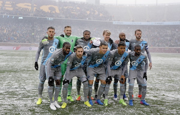 The Minnesota United FC posed for the traditional starting line-up photo before taking on Atlanta United for the home opener at TCF Bank Stadium, Sund