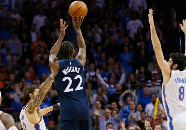 Andrew Wiggins takes the game-winning shot against Oklahoma City.