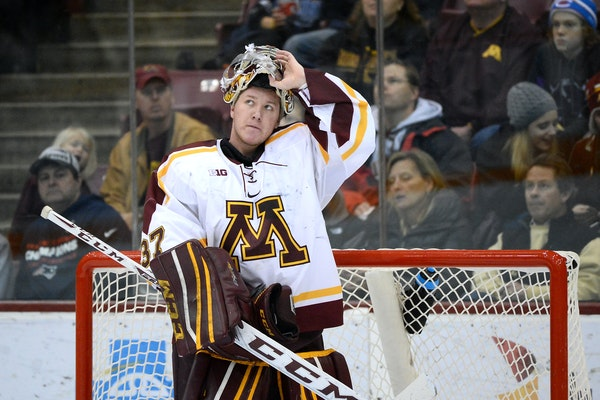 Gophers goalie Eric Schierhorn is expected to start his 78th consecutive game Friday, matching a 51-year-old Minnesota record. (Star Tribune photo by