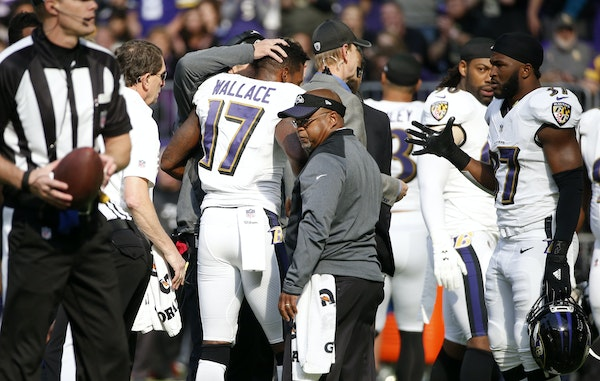 Ravens wide receiver Mike Wallace suffered a concussion after getting hit by Vikings safety Andrew Sendejo on Sunday.