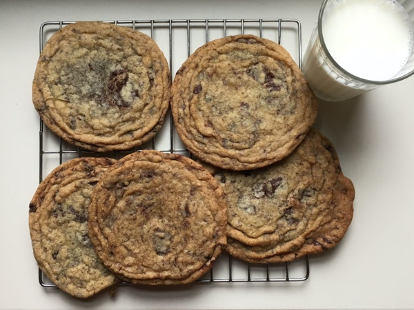 Giant Crinkled Chocolate Chip Cookies are 5 inches across, the better to show off their ridges.