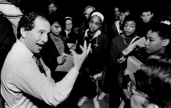 January 7, 1992: Minnesota senator Paul Wellstone interested with students at North High School during a speech criticizing the Bush administration ed