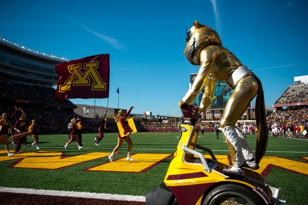 Goldy Gopher and the University of Minnesota spirit quad stormed the field after a rushing touchdown last season vs. Rutgers.