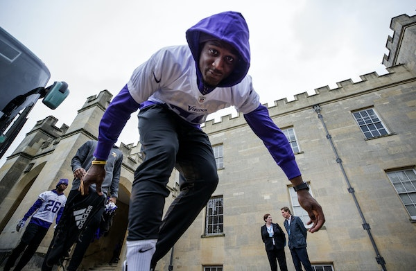 Minnesota Vikings defensive back Xavier Rhodes (29) got off the team bus and walked to the practice field at Syon House outside of London in preparati