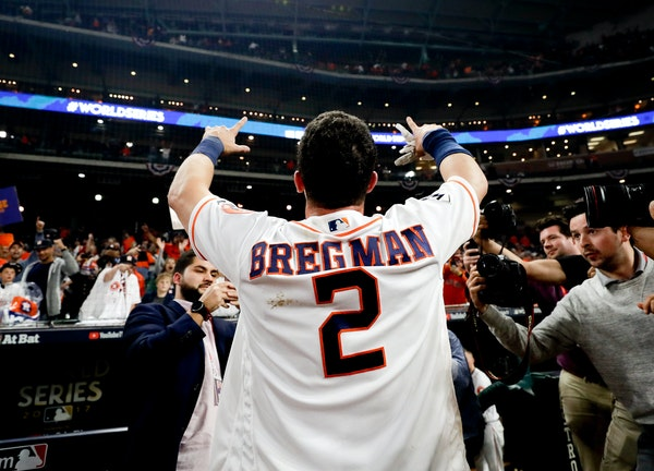The Astros' Alex Bregman celebrated his game-winning single in Game 5 of the World Series, The Astros outslugged the Dodgers 13-12 to take a 3-2 lead