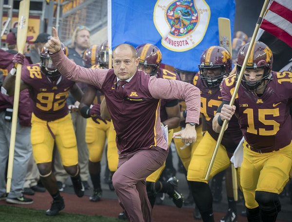 P J. Fleck will charge into Kinnick Stadium for the first time as Gophers coach on Saturday. (Photo by Elizabeth Flores, Star Tribune)