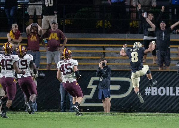 Purdue's running back Markell Jones celebrated a touchdown during the fourth quarter the Gophers took on Purdue at Ross-Ade Stadium,.