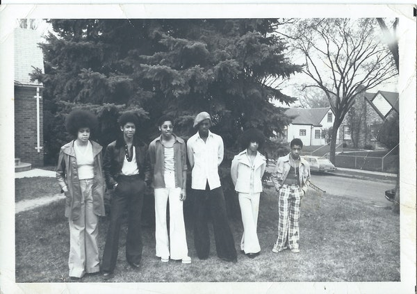 """The historic Grand Central Band, featuring (left to right) Linda Anderson, Andre Cymone, Morris Day, Terry Jackson, Prince and William """"Hollywood"""" Dou"""