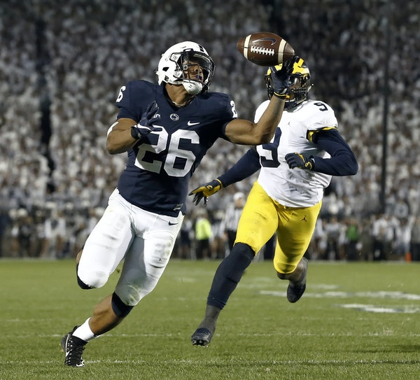 One of the plays of the year so far: Penn State running back Saquon Barkley hauled in this pass to score a touchdown against Michigan last Saturday in