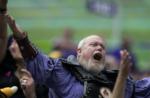 A Minnesota Vikings fan in the stands reacted to a play in the fourth quarter of a recent game.