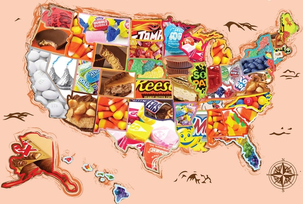 New map shows the best-selling Halloween candy in each state according to CandyStore.com.