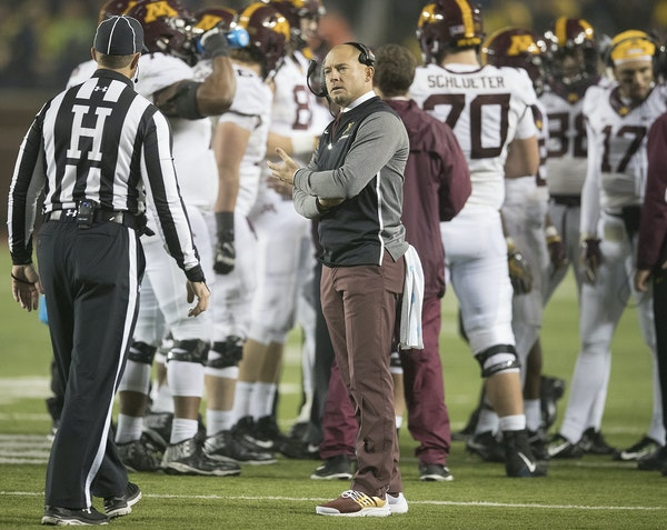 Gophers coach P. J. Fleck had a talk with a game official while a play was being reviewed during the fourth quarter.