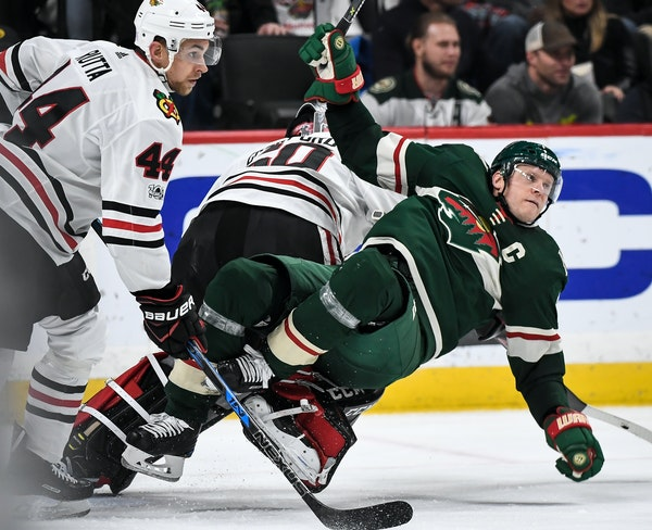 Wild center Mikko Koivu was called for goalkeeping interference after getting tangled with goalie Corey Crawford in the second period.