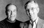 Roger Erickson, right, is shown with his longtime WCCO Radio partner Charlie Boone in 1992.