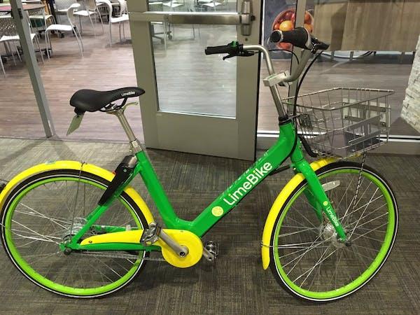 A LimeBike dockless bike.