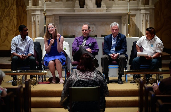 St. Paul mayoral candidates including, from left, Melvin Carter, Elizabeth Dickinson, Tom Goldstein, Pat Harris and Dai Thao, at a forum in June.