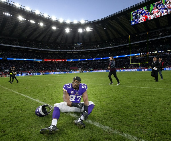 Vikings defensive end Everson Griffen was slow getting up at the end of Sunday's 33-16 victory over the Browns but said he was fine after the game.