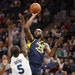 Indiana Pacers center Al Jefferson (25) scored over Minnesota Timberwolves center Gorgui Dieng (5) in the second half at Target Center Tuesday October