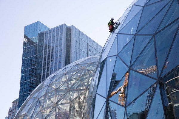 FILE -- Large spheres in front of Amazon's building in Seattle, Sept. 27, 2017. Amazon said in October it had received proposals from 238 cities and r