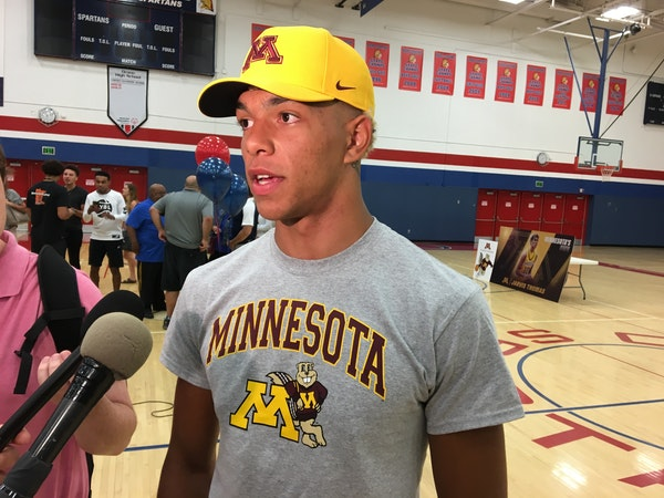Jarvis Thomas spoke with reporters after announcing his commitment to the University of Minnesota men's basketball team.