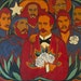 """Rosas y Estrellas"" (""Roses and Stars"") by Raúl Martínez depicts 19th-century Cuban revolutionary José Martí (center) flanked by Fidel Cas"