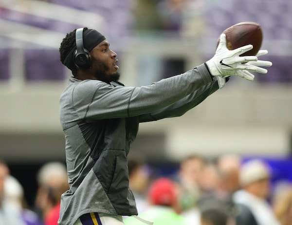 The Vikings' Laquon Treadwell warmed up early before last month's game against the Packers.
