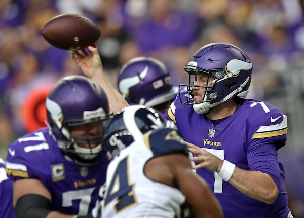Minnesota Vikings quarterback Case Keenum drives the Vikings down field in the second quarter against the Los Angeles Rams on Sunday, Nov. 19, 2017 at