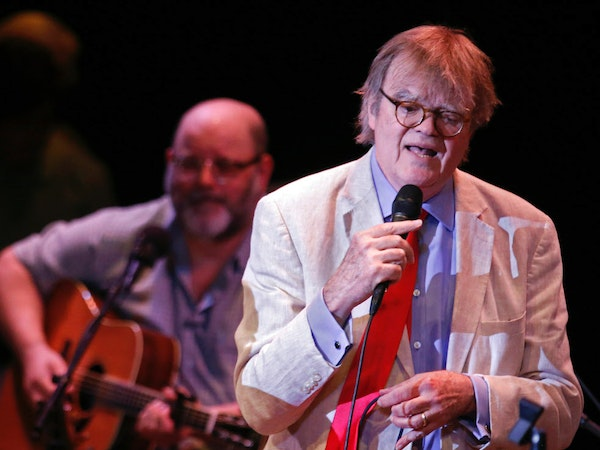 """Garrison Keillor sang during the live 2016 broadcast of """"A Prairie Home Companion"""" at the State Theatre in Minneapolis."""