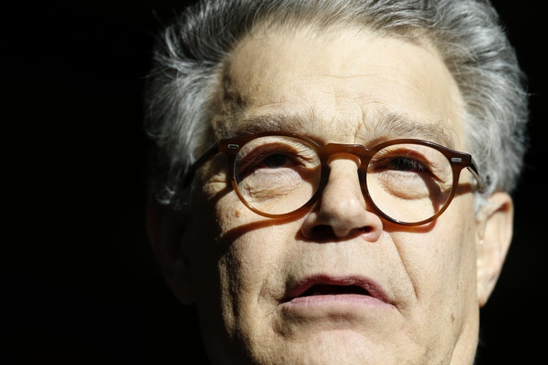 In this Nov. 27, 2017 photo, Sen. Al Franken, D-Minn., speaks to the media on Capitol Hill in Washington. Franken is denying an accusation by a former